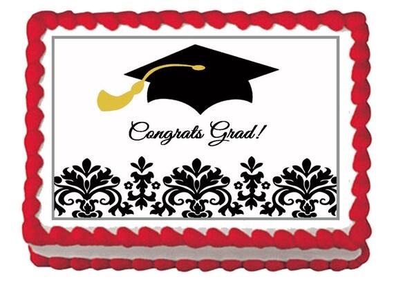 Edible Cake Images Graduation : Graduation Hat Black White Damask Edible Decoration Party Cake