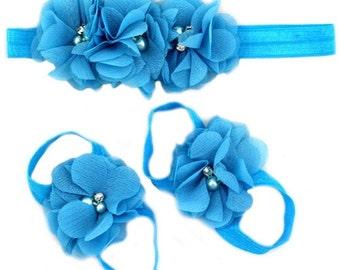baby girl sandal and headband set - turquoise