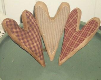 Handmade Tea Stained Primitive Ornie Hearts
