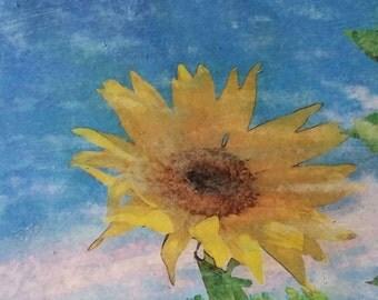 Floral Wall Art, Sunflower, Original photo transfer, Size 10.5 x 6.5