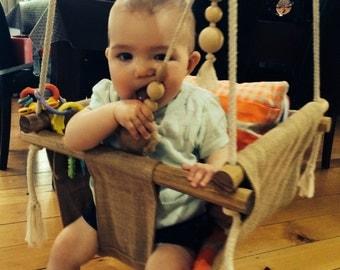 Handmade Burlap Baby Swing, Toddler Swing or Kids Swing with Rattle