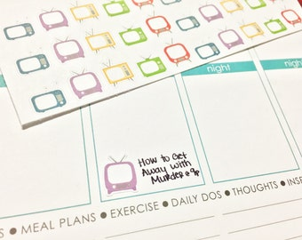 30 Multi-Color TV Stickers! Perfect for your Erin Condren Life Planner, Filofax, Plum Paper & other planner or scrapbooking!