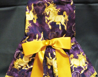 Handmade Dog Dress with big bow, fully lined