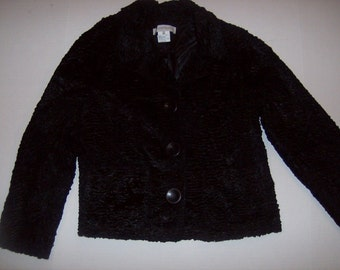 Vintage Gerard-Darel-Size-40-7-8-Black-Faux-Lamb-Jacket-Acetate-Cotton-Polyester