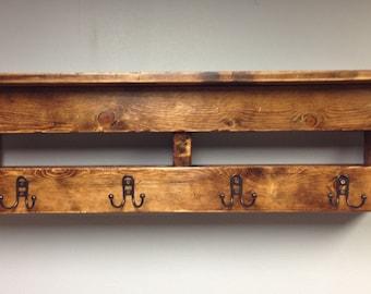 Coat Rack Rustic/backpack holder/vintage/reclaimed/wall hanging/Towel/Bathroom/Robe/Entry Shelf/Hall Shelf