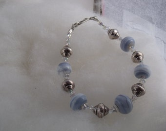 Blueberry glass lampwork bead bracelet with silver accent beads and sterling silver clasp