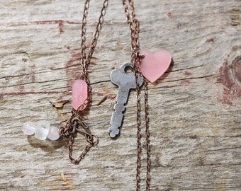 Acrylic Lucite Key to My Heart Necklace Pink Artisan Made, valentines gift, girl friend gift, Mom gift