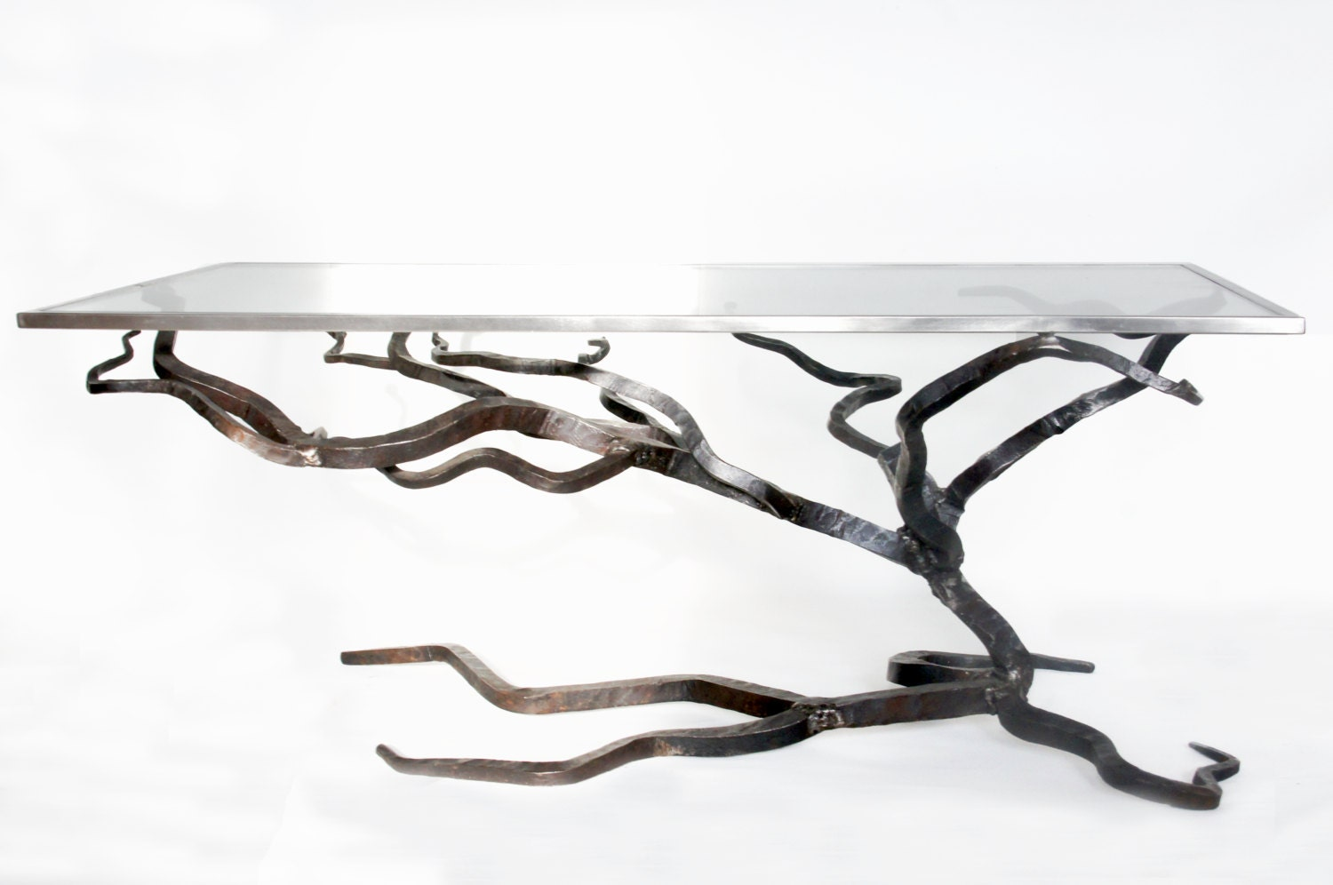 Glass And Metal Coffee Table Forged Sofa Table Blacksmiths