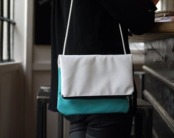 Bag folding pouch white and turquoise