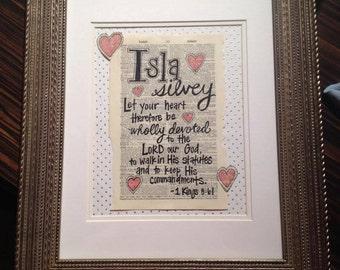 Custom Baby Name & Bible Verse Art - FRAMED