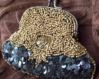 Vintage Beaded and Sequin Coin Purse