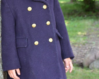 Vintage R.H. Stearns Childrens Navy Wool Pea Trench Coat size 4