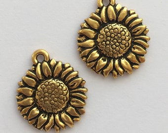 2 Gold Sunflower Charm, Pewter, package of 2