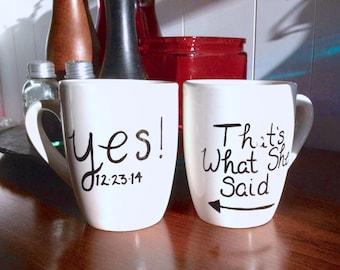 Yes! Custom Personalized Engagement Mug Set (2 Mugs)