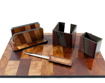 Leather Desk Set, Office organizer, gift for Boss, graduation, advanced degree, business gift, leather desk pad, desk mat, desk Luxury décor