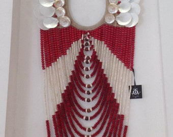 Large Red Bead & White Shell Wall Hanging