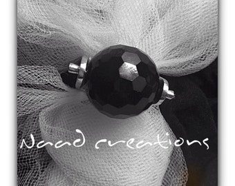 Silver RING with Black Onyx ball