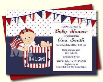 Patriotic Baby Shower Invitation- 4th of July Baby Shower Invitation- Stars and Stripes Girl Baby Shower Invite- Red White and Blue- DIY