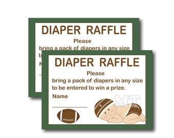 Football Diaper Raffle Ticket- Sports Boy Baby Shower- DIY Printable Diaper Raffle Cards- Instant Download