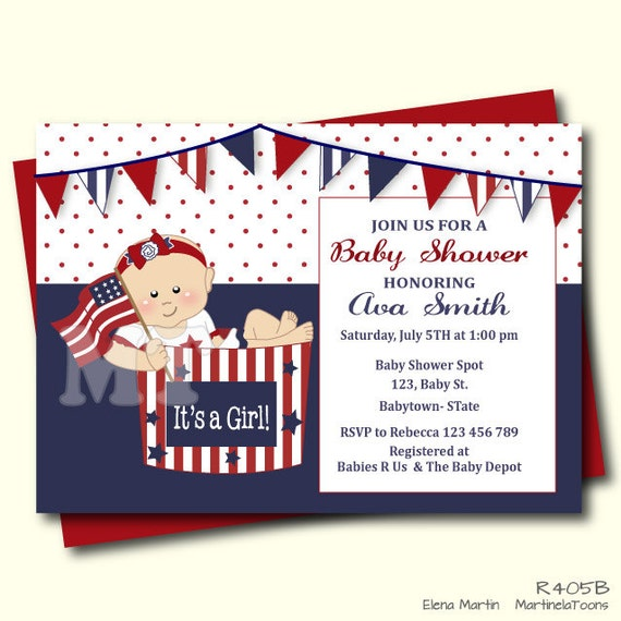 May The Fourth Be With You Baby Shower: Patriotic Baby Shower Invitation 4th Of July Baby Shower