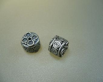 Oxidized Bali Sterling Silver Granulated Barrel Bead