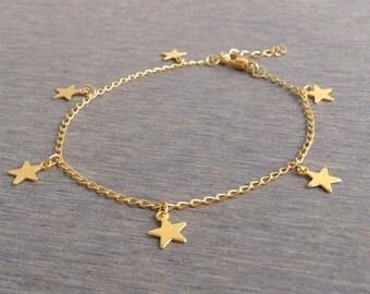 Stars Charm Bracelet,  Astrology Jewelry, Minimal Bracelet,  Friendship Bracelet, Gold Astrology Bracelet