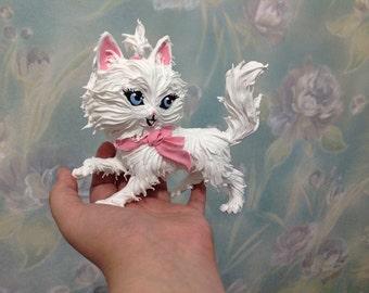 Figurine cat,white cat figurine,figurines of animals,figurine white kitty with pink sharecom