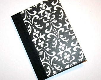Black and White Damask Blank Book, Handmade Mini Journal, Hand  Bound Blank Book, Sketch Book