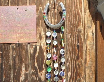 Lucky Horse Shoe and Bottle Cap Wind Chime
