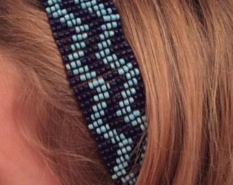 Beaded Headband, Blue Beaded Headband, Handmade Headband, Stretch Seed Bead Headband