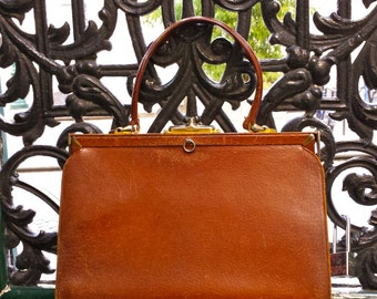 1970s leather chestnut brown purse