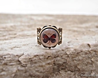 Handmade Bronze Adjustable Butterfly Ring, Vintage Style Butterfly Ring, Statement Ring, Gift For Her, Antique Ring, Glass Ring - Pattern 4