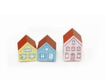 3 pcs Cute Zakka PINK HOUSE Rubber Craft Stamp Set, Merci Beaucoup Thank You