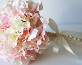 Blush Pink Hydrangea Bouquet, Silk Wedding Flowers, Bridesmaid Bouquet, Rustic Wedding, Vintage Wedding, Bridal Bouquet, Bride, Bridesmade