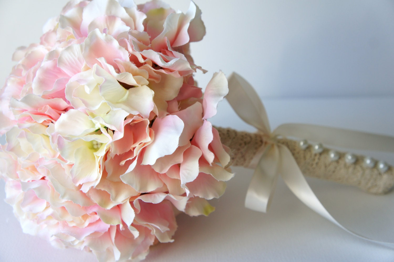 Bridal Flowers Blush Pink : Blush pink hydrangea bouquet silk wedding flowers bridesmaid