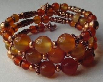 Carnelian on solid copper bracelet