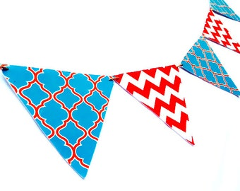blue orange chevron fabric pennant banner baby boy banner baby shower banner nursery