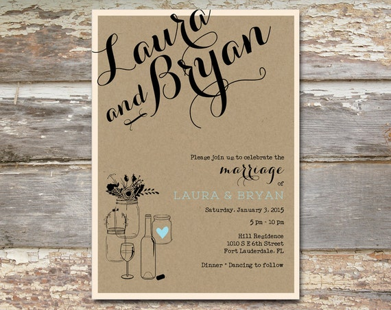 Rustic Wedding Invitation With Bold Cursive Font On A Kraft