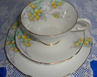 Vintage Paragon Mimosa Tea Trio Made By The Queen's Porcelain Makers