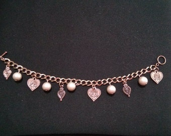 Pear and Heart Rose Gold Charm Bracelet