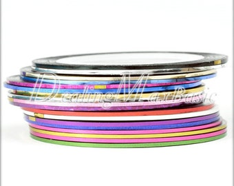 18 Rolls Mixed Color Striping Tapes Line Nail Art Decoration Sticker NA0010