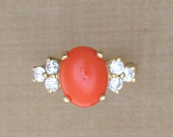 Woman's Oval Coral & .71 ct. Diamond Ring - 18K Yellow Gold - Beautiful Red / Orange Coral Gem
