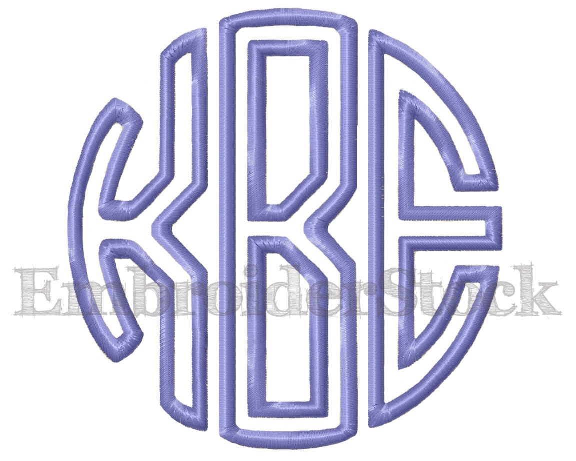 Circle applique monogram design embroidery font machine