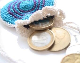 Crochet Drawstring Pendant Wallet, blue and purple pattern bag, crochet festival hippie coins pouch, radial mandala, ring holder, mini purse