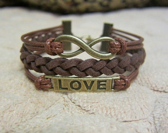 Infinity Love Bracelet Genuine Brown Leather and Antique Bronze