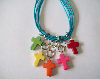 Rainbow necklace, cross, crusifix, colorful necklace, cross necklace, blue necklace, choker necklace
