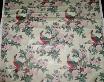 STROHEIM & ROMANN PHEASANT Bird Toile Cotton Chintz Fabric 12 yards Alabaster Cream Crimson Green Multi