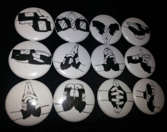 12 one inch Naruto  Hand Sign buttonpins