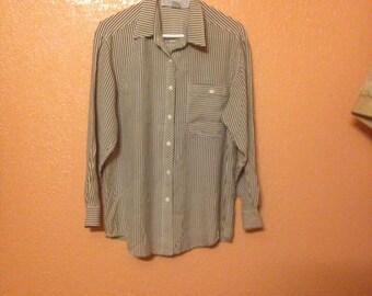 Silk Express Striped Button Down Shirt With Breast Pocket