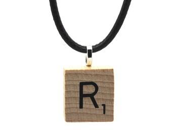 Wooden Scrabble Letter Necklace + black leather cord. Letter R . SKU006139